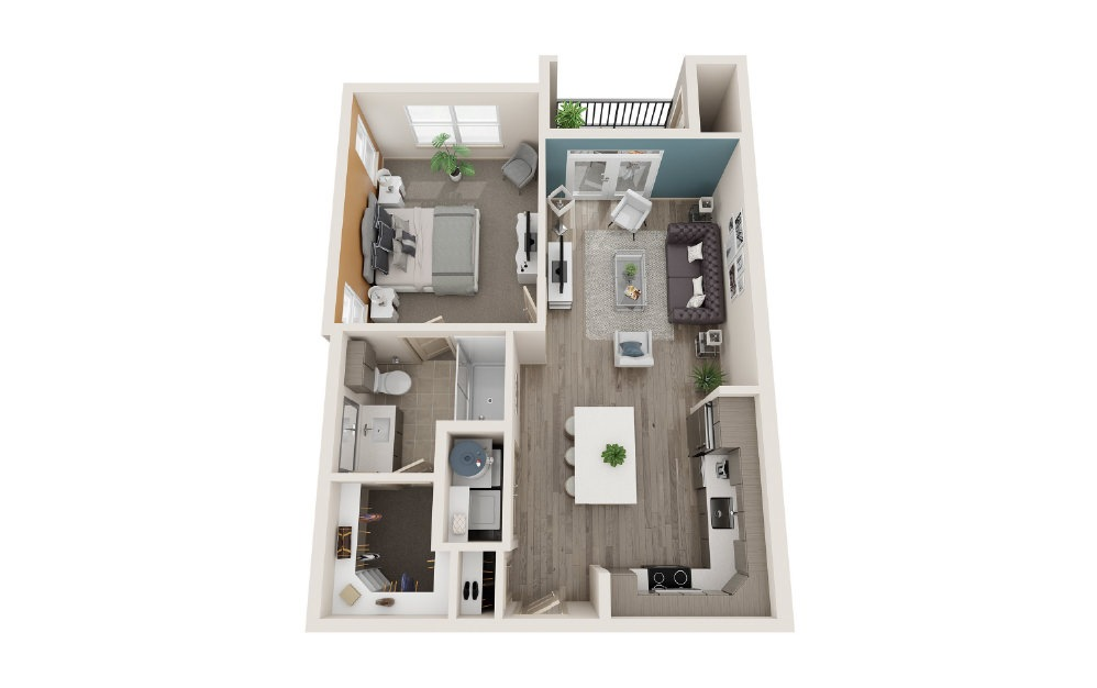 A1 - 1 bedroom floorplan layout with 1 bath and 710 to 718 square feet.