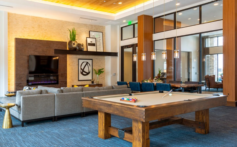 billiards table in large, spacious, well lit clubroom