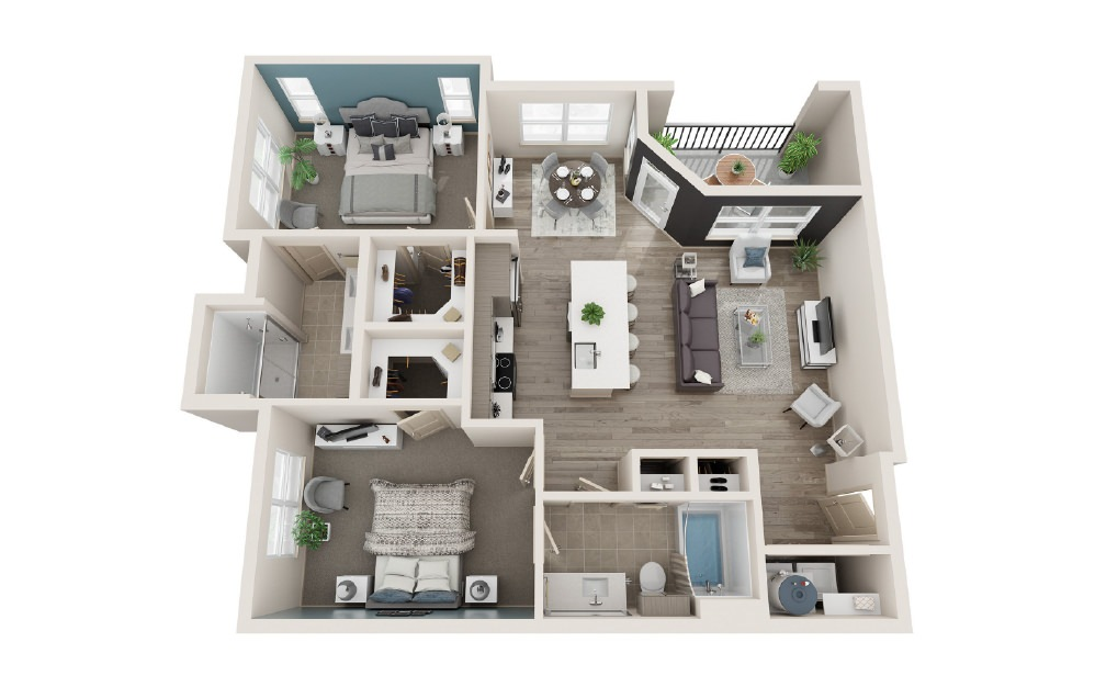 B1 - 2 bedroom floorplan layout with 2 baths and 1086 square feet.