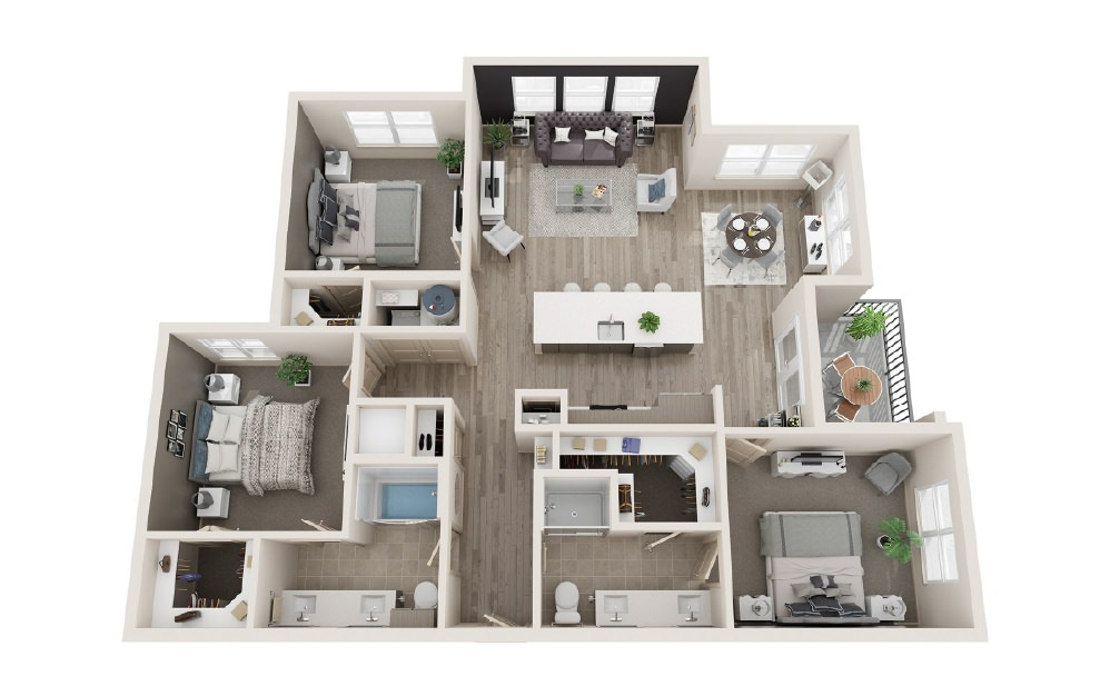 C1 - 3 bedroom floorplan layout with 2 baths and 1411 square feet.