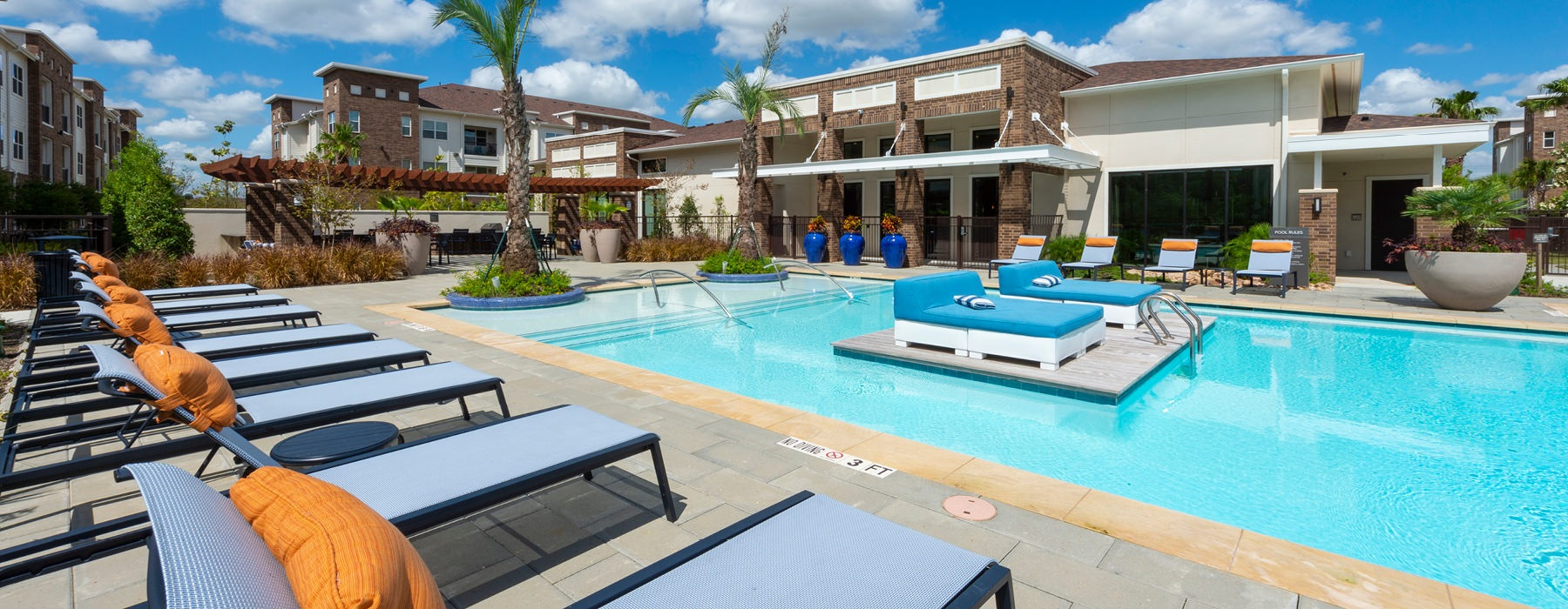 rendering of resort style pool with sundeck